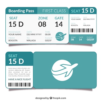 Template of flat boarding pass