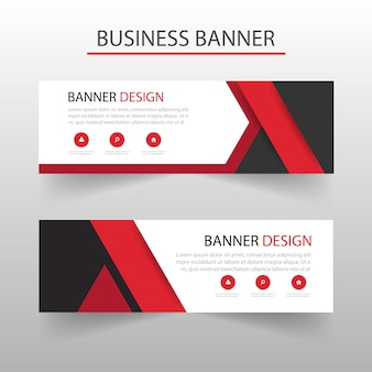 Template of geometric banners with red shapes