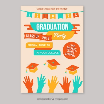 Template of graduation party leaflet with colored elements