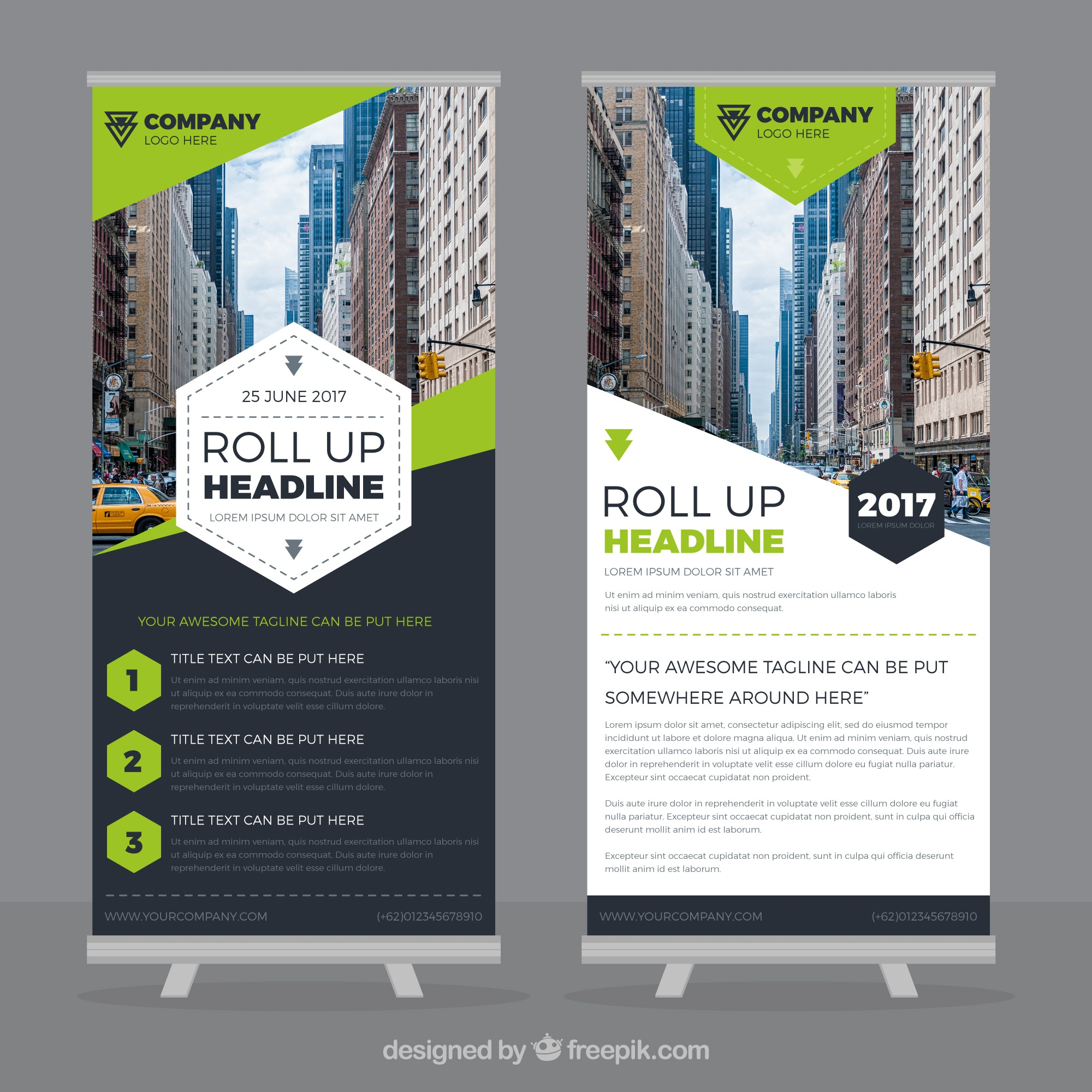 Template of great roll up with green forms