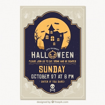 Template of halloween party brochure haunted house