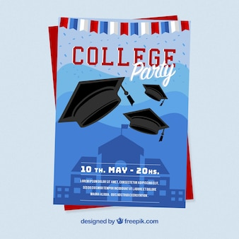 Template of party brochure with graduation caps and garland