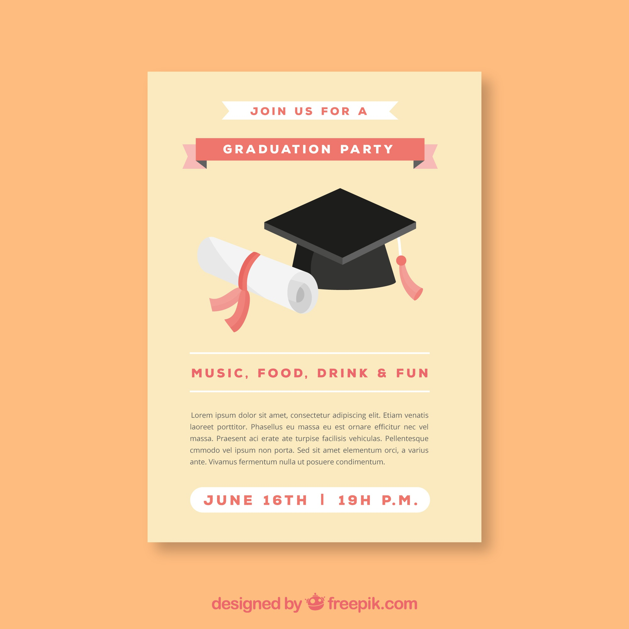 Template of party leaflet with graduation cap and diploma