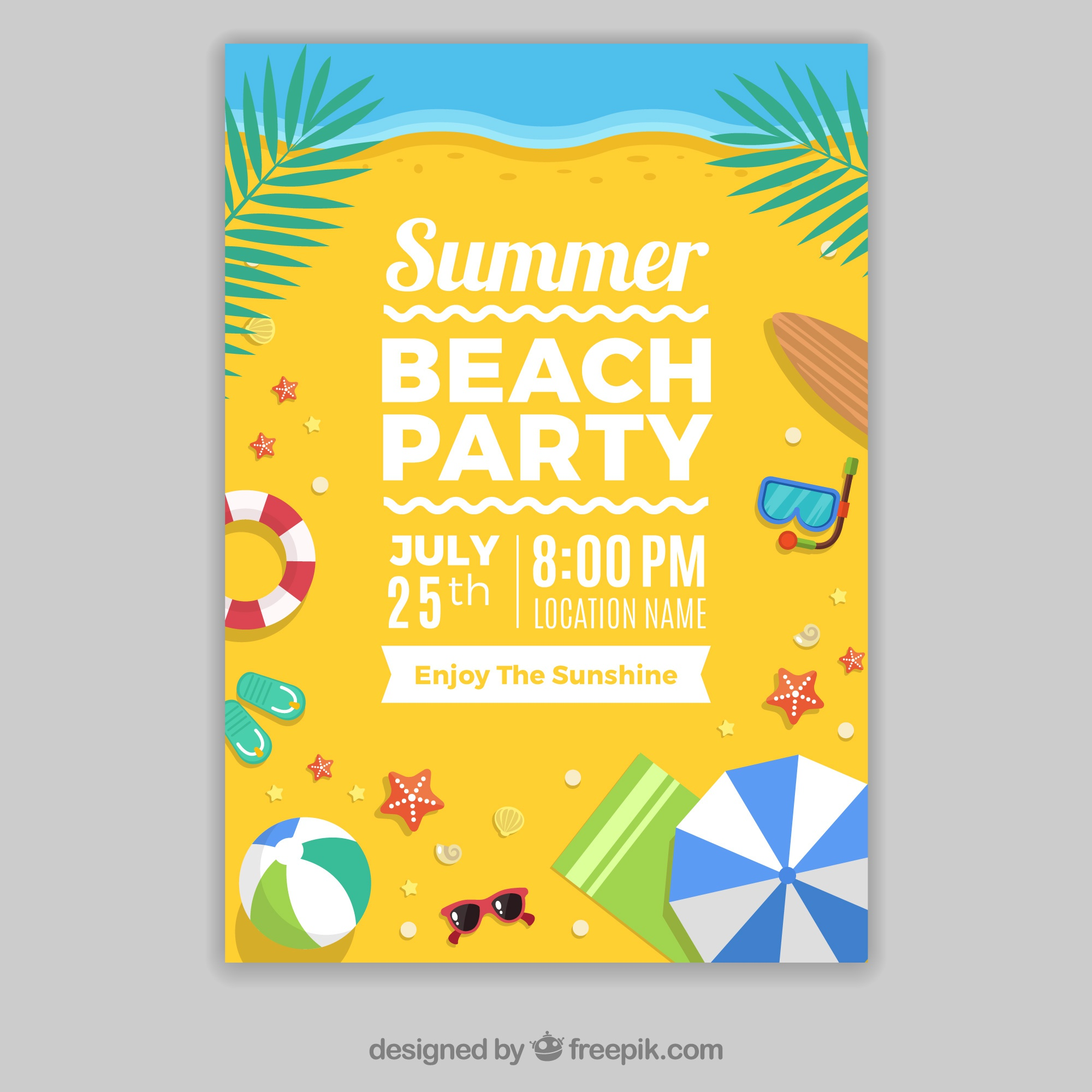 Template of party poster on the beach