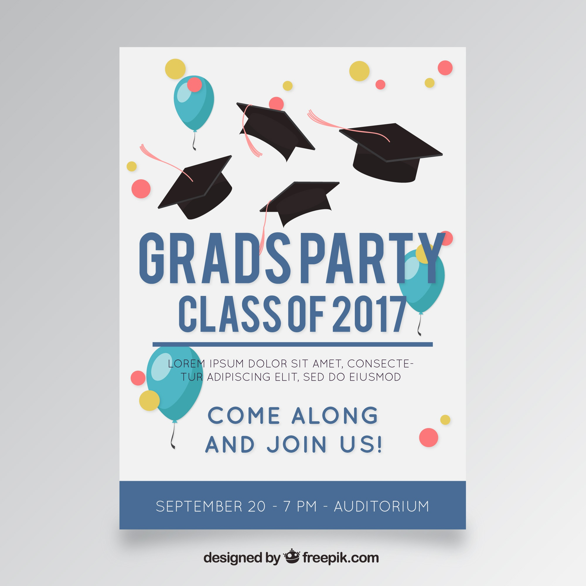 Template of party poster with balloons and graduation caps
