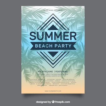 Template of summer party brochure with palm trees
