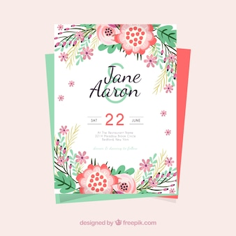 Template of wedding invitation with colored flowers