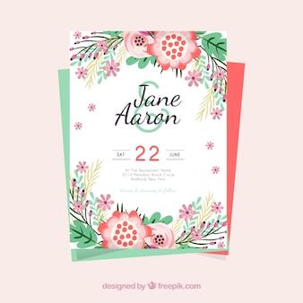 結婚式招待状の色付きの花のテンプレート