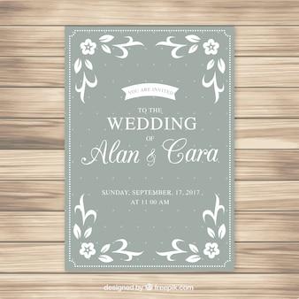 白い飾りと結婚式招待状のテンプレート