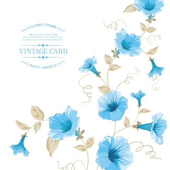 Template with blue flowers
