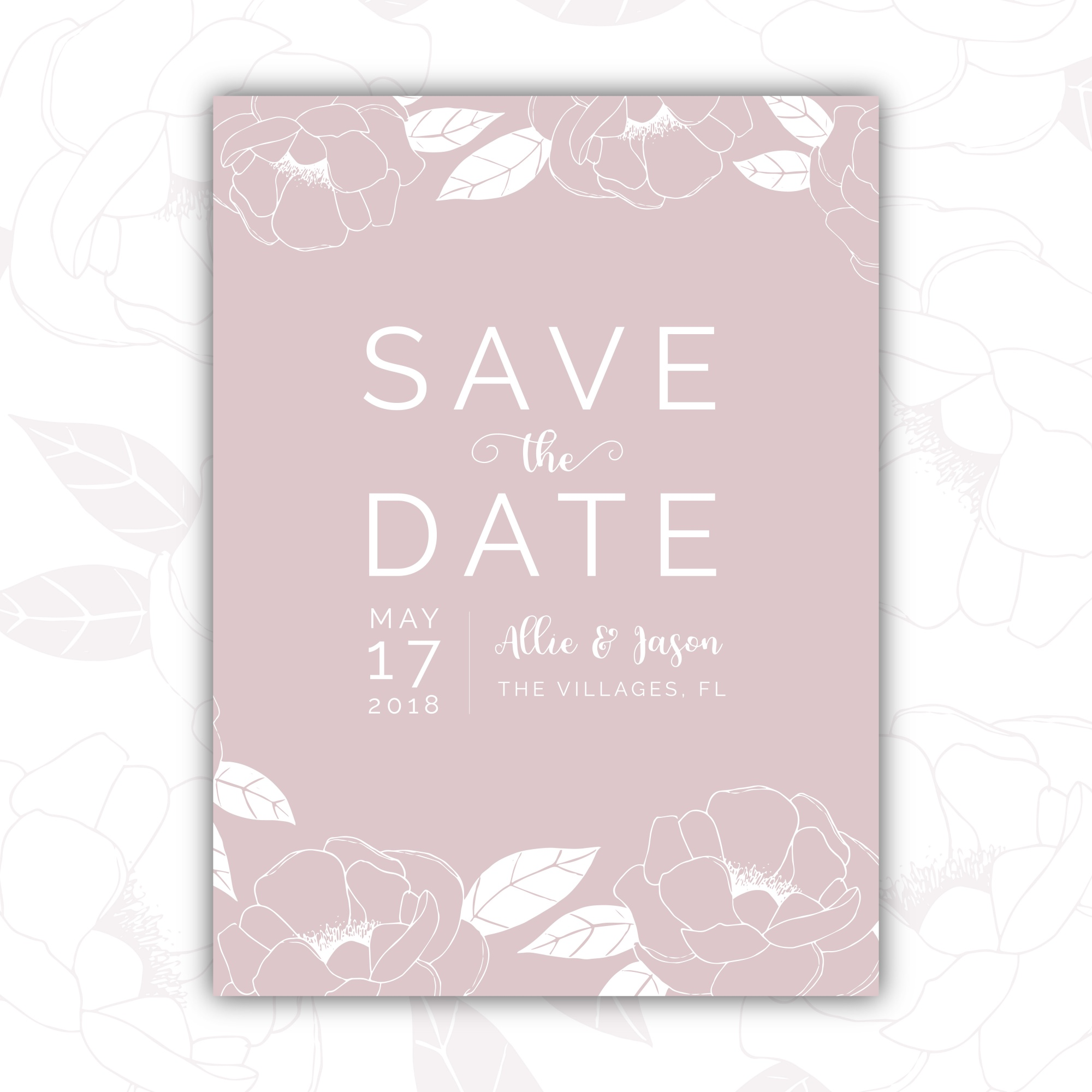 Tender hand drawn save the date card