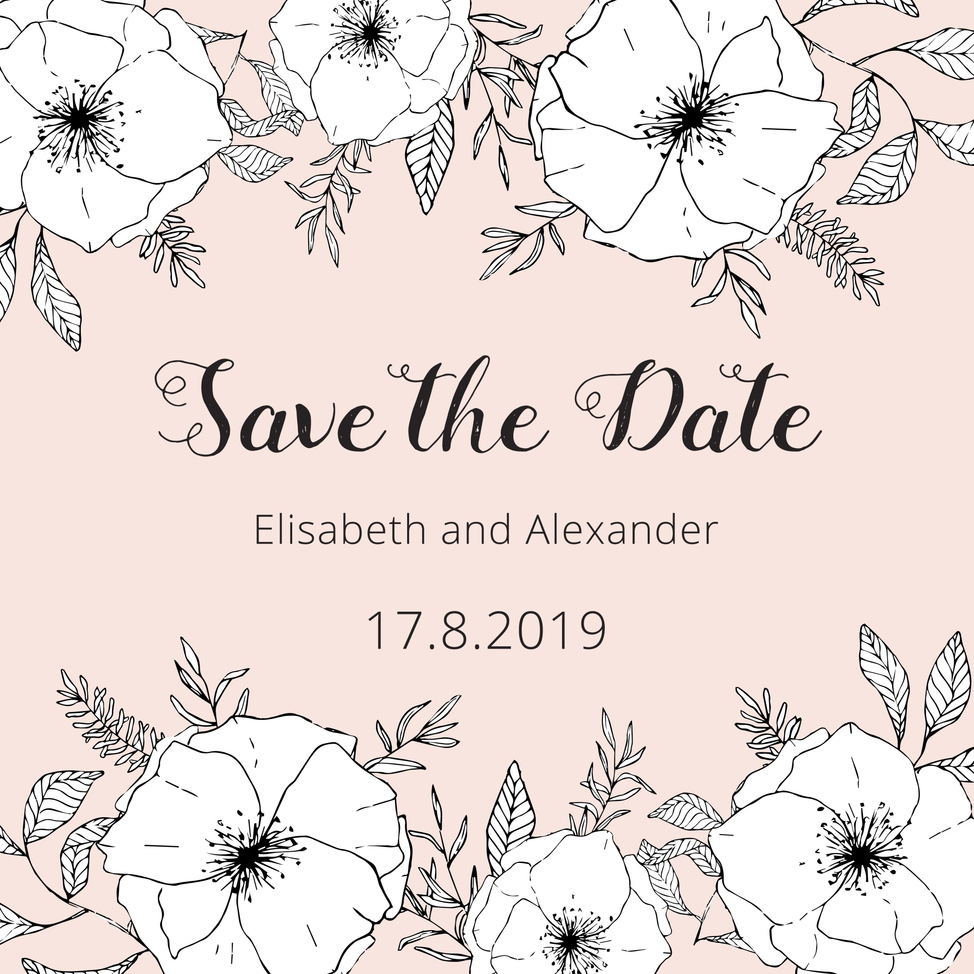 Tender pastel save the date card