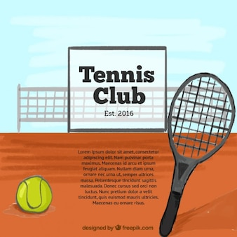 Tennis court background with racket and ball