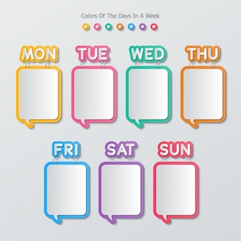 Text bubbles square shaped in a calendar