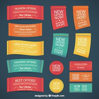 Textile fashion labels in colored style