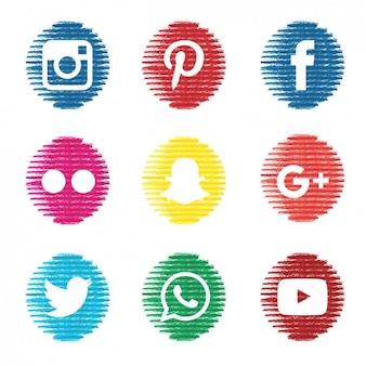 Textured social media icons