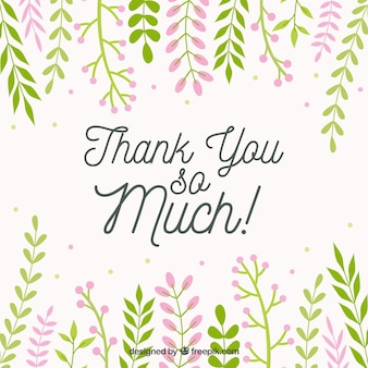 Thank you background with decorative leaves