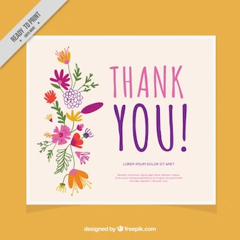 Thank you card decorated with flowers