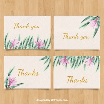 Thank you card pack with watercolor flowers