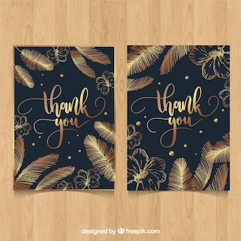 Thank you card with golden feathers