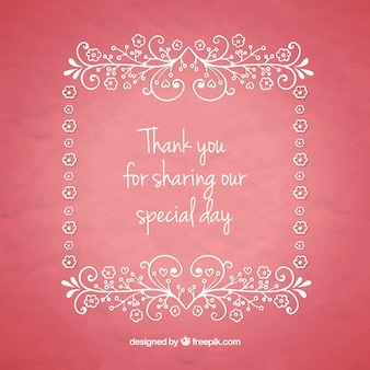 Thank you message with ornamental frame