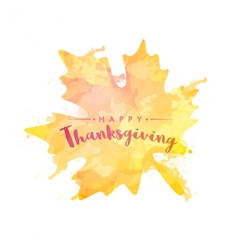 Thanksgiving background of leaf painted with watercolor