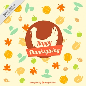 Thanksgiving background with a turkey's silhouette