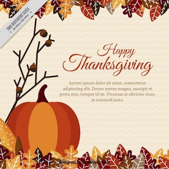 Thanksgiving background with pumpkin and leaves