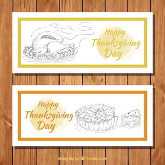 Thanksgiving banners with traditional dishes