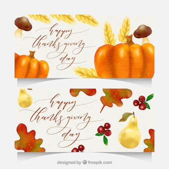 Thanksgiving banners with watercolor style