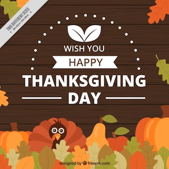 Thanksgiving day background with a turkey and leaves
