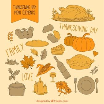 Thanksgiving day menu elements