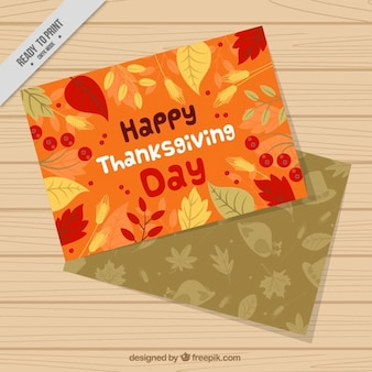 Thanksgiving greeting cards of hand-drawn leaves