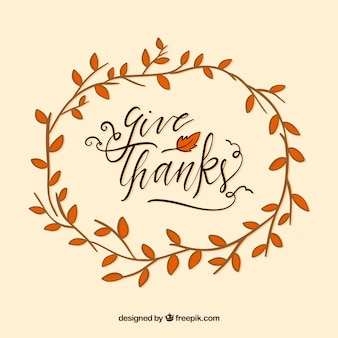 Thanksgiving lettering design with circular branch