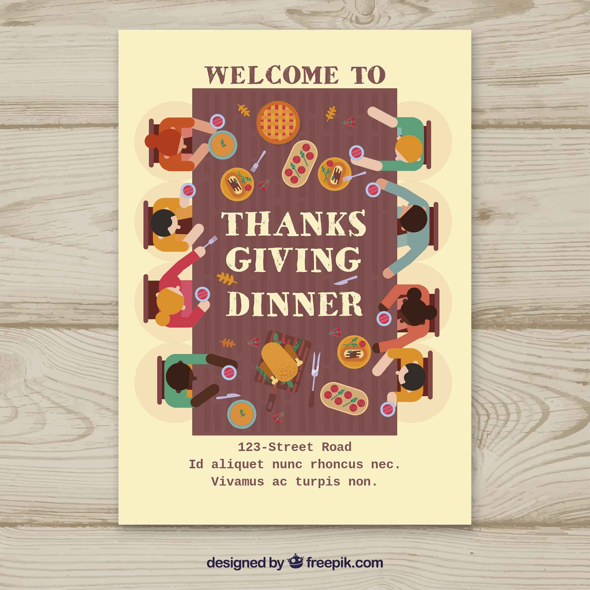 Thanksgiving poster with people at table