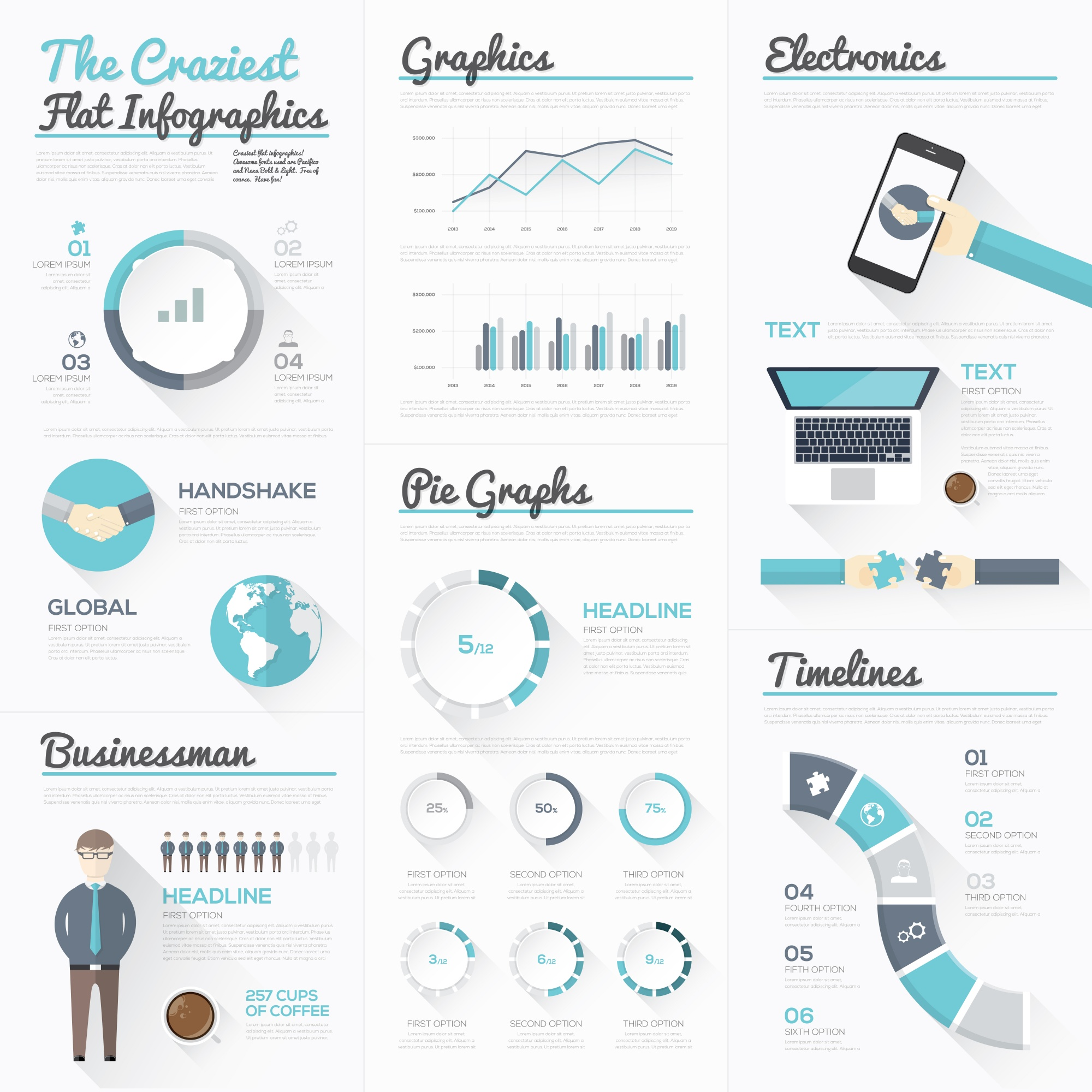 The craziest flat infographics and modern business elements