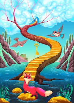 The golden stair cartoon illustration