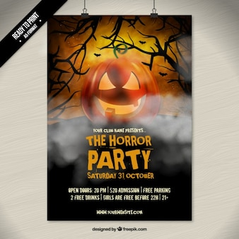 the horror halloween party poster