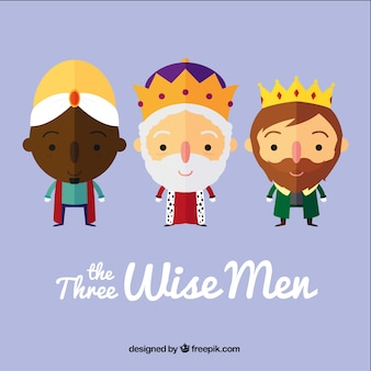The three wise men in cartoon style