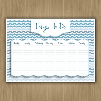 Things to do weekly planner on a wood texture background