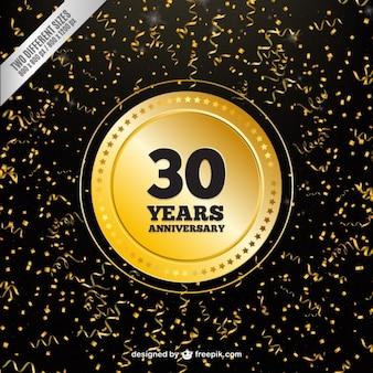 Thirtieth anniversary confetti background