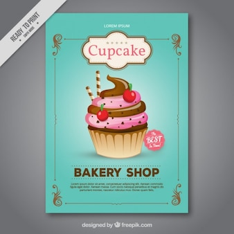 Thorough cupcake bakery shop flyer
