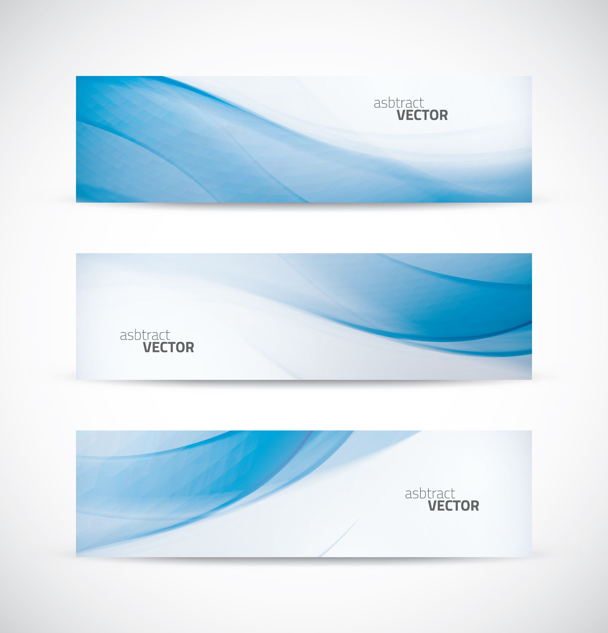 Three abstract blue business wave banner header backgrounds vector