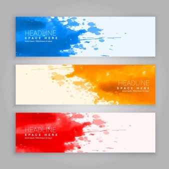 Three artistic banners with watercolor