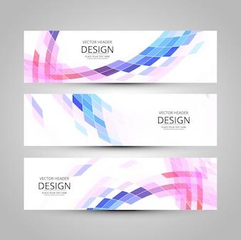 Three banners, futuristic style