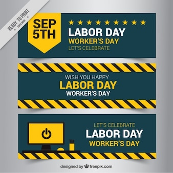 Three banners of labor day
