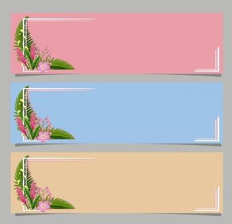 ピンクの花と3つのバナー