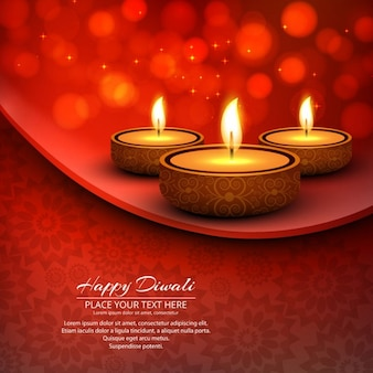 Three candles on a red abstract background for diwali