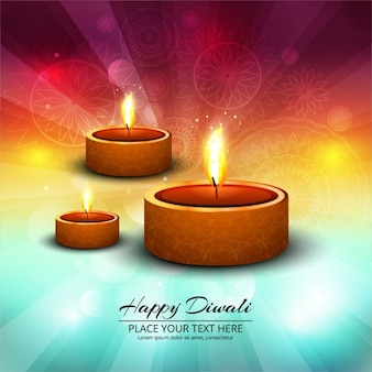 Three candles on abstract background for diwali