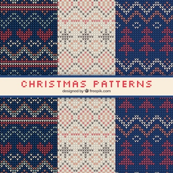 Three christmas patterns with fabric texture